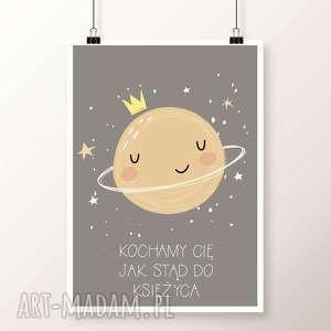 Plakat KSIĘŻYC A3, księżyc, gwiazki, gwiazdy, noc