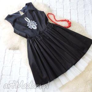 Czarna rozkloszowana sukienka z tiulem haft PARZENICA S/36, sukienka, góralska