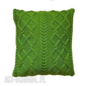 poduszki zielone warkocze, poduszka, handmade, miękka, niepowtarzalna dom