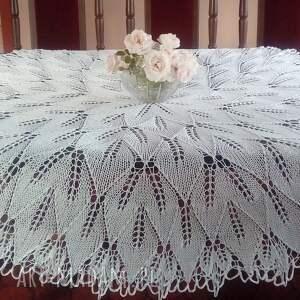 obrus na drutach 150 cm, drutach, duży obrus, okrągły
