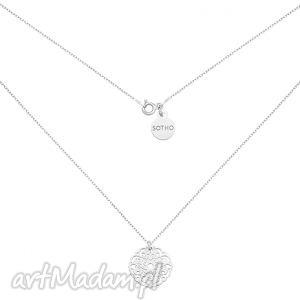 srebrny naszyjnik z rozetką - minimalistyczny, zawieszka, kobiecy