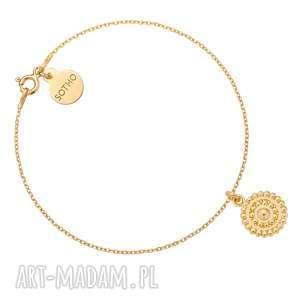 sotho złota bransoletka z rozetką - złote bransoletki, okrągła