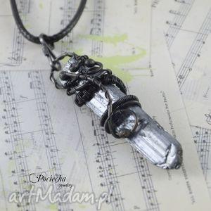 handmade naszyjniki space crystal- naszyjnik z antymonitem