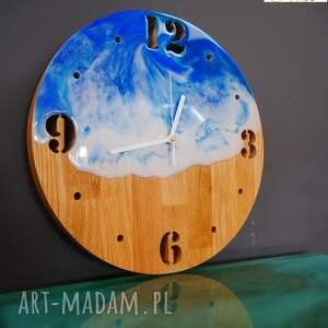 ręcznie robione zegary zegar ścienny z drewna, dąb, żywica, fale, morze