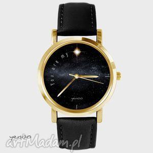 zegarki zegarek - you are my star czarny, skórzany, złoty, zegarek, skórzany