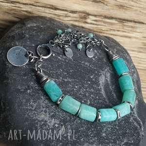 hand made bransoletki bransoletka srebrna z amazonitem mozambijskim