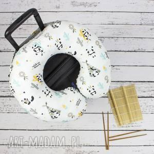 poduszka podróżna panda, poduszka, zagłówek, togal, podróż, haft torebki