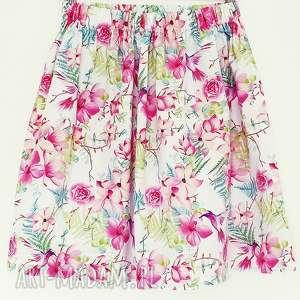 Spódnica w egzotyczne kwiaty i kolibry spódnice du nord kolobry