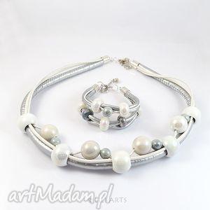 Komplet - biało srebrny naszyjnik, bransoletka, ceramiczne