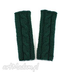 hand-made rękawiczki mitenki z warkoczem dziergane handmade bez palców