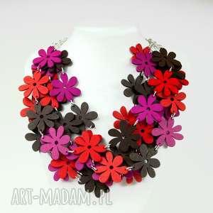 letni naszyjnik z drewnianych kwiatów c483d - kolorowy naszyjnik, kolorowe kwiaty