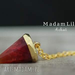 AMORE agat pozłacany łańcuszek , agat, kamień, zawieszka, czerwona, złoto, złoty