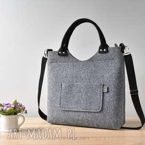 ręczne wykonanie elegancka duża szara filcowa torebka
