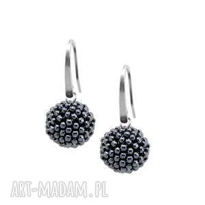 kolczyki glamour - silver hematite stal szlachetna, kolczyki, eleganckie
