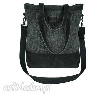 Prezent Torba damska skóra z tkaniną, torby, torebki, skóra, handmade, zakupy