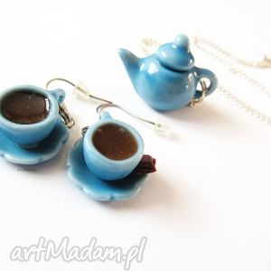 hand-made komplety niebieska zastawa stołowa - komplet biżuterii