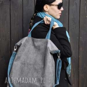 handmade na ramię torba hobo xxl - szarość, szmaragd
