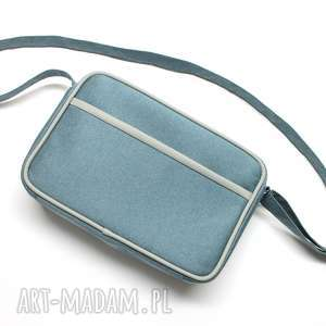 mała torba miejska - tkanina niebieska i skóra szara, elegancka, nowoczesna