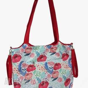 Torba Shopper z mocowanim do wózka Maki na czerwonym, shopperka, torba-do-wózka