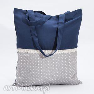 na ramię siatka w kropki szaro-niebieska z koronką, siatka, torba, koronka, pikowana