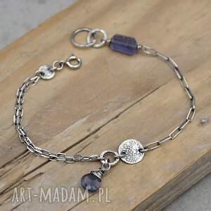 subtelna srebrna bransoletka z szafirem wodnym 097, iolit, szafir wodny, srebro