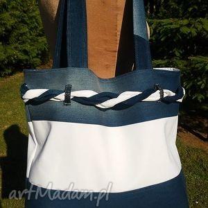 prezent na święta Biało-Granatowa Torba z Plecionką, torba, jeans, tkanina, ramię