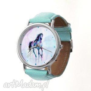 Koń - Skórzany zegarek z dużą tarczą - ,zegarek,koń,koniem,pastelowy,akwarele,dziewczęcy,