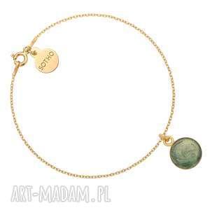 złota bransoletka z zieloną żywicą sotho - okrągła