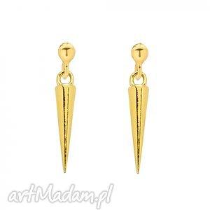złote kolczyki z kłami - zawieszka, kły, srebro modne