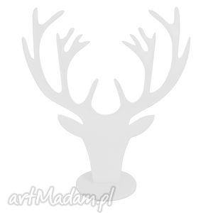 biały stojak na bizuterię jeleń - na biżuterie, poroże