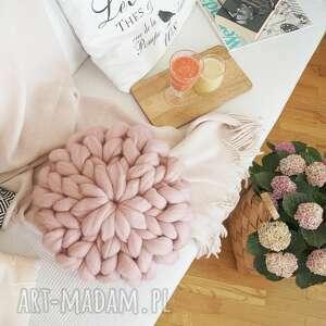 ręcznie robione poduszki poduszka czesankowa różowa