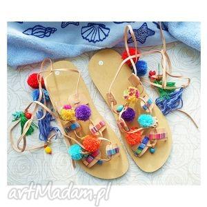 handmade buty rozm. 41 kolorowe sandały z pomponami w stylu boho