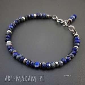 Lapis lazuli z przekładkami, lapis, srebro