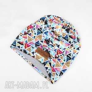kolorowa czapka beanie w trójkąty unisex - czapka, beanie, ciepła, unisex