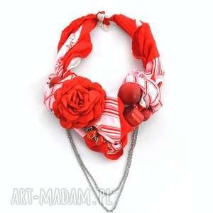RED ROSE naszyjnik handmade, naszyjnik, kolia, czerwony, kwiat, czerwonobiały