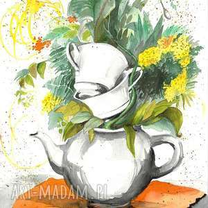 ziołowa herbatka dla dwojga akwarela artystki adriany laube - obraz na papierze