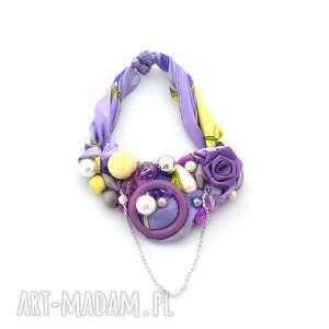 naszyjniki ultrafiolet naszyjnik handmade, naszyjnik, kolia, fiolet, pastelowy