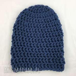 czapki ręcznie robiona czapka granatowa hand made, czapka, czapki, szydełko, włóczka