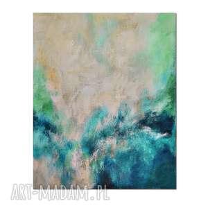 curacao, abstrakcja, nowoczesny obraz ręcznie malowany, obraz, abstrakcja