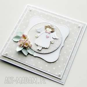 kartka na chrzest Św - z aniołkiem - kartka, chrzest, dziewczynka, prezent