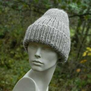 ręcznie robione czapki 100% wool unisex beżowa wywijana czapa