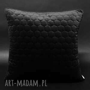 poduszka welur plastry miodu czerń 45x45cm, dekoracyjna