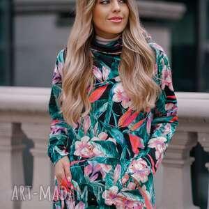 bluzy damska bluza tunika z dużym kapturem, akwarelowy print, kwiaty i liście