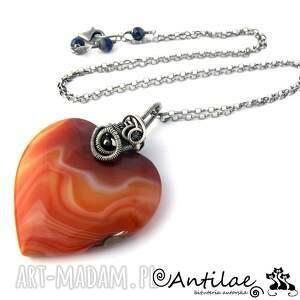 koro - agat, srebro, wire wrapping - serce, srebro, agat, wirewrapping, naszyjnik