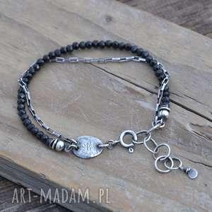 czarny spinel delikatna bransoletka - spinel, srebro, delikatna, surowa
