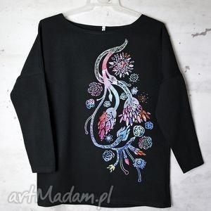 KWIATY bluzka oversize bawełniana S/M czarna, bluzka, bawełniana, nadruk