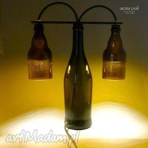 prezent extra lampa z ręcznie ciętych butelek, unikat, designerskie