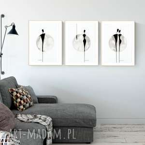 Zestaw 3 grafik 30 x 40 cm malowanych ręcznie plakaty art