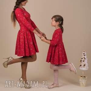 komplet śnieżynki czerwone, śnieżynki, komplet, mamaicórka, sukienki