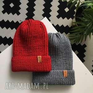 czapka zimowa wełniana na drutach z wełny merino 100 handmade wool szary granat